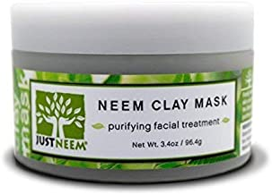 JustNeem, French Clay Mask with Neem, for Blemishes, Blackheads, Rashes; for Irritated and Stressed Skin; Deeply Cleansing and Rejuvenating; Rosemary, Lavender, Eucalyptus Essential Oils, 3.4 oz