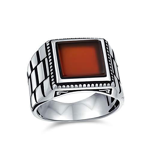 Orologio retrò in stile fascia incisa Red Agate Square Signet Ring per uomo pesante 925 sterling argento fatto a mano in Turchia