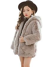 [JINPIN]子供服 ファーコート 毛皮コート キッズ服 女の子 ボアジャケット 可愛い フード付き 保温 もこもこ ふわふわ ベビー服 棉服 秋冬 暖かい 防寒 あったか おしゃれ 通園 通学 お出かけ