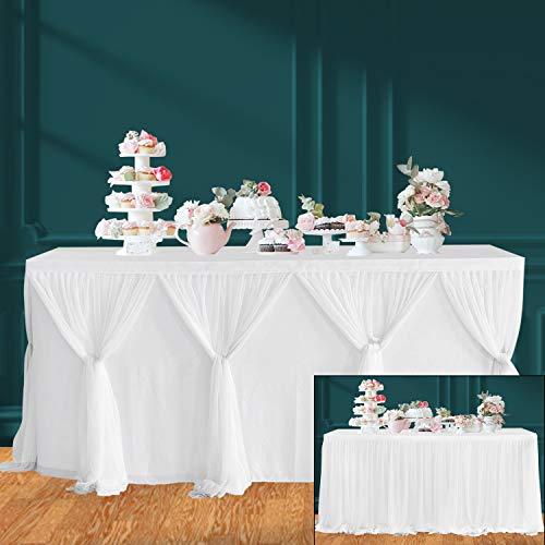 HBBMAGIC Blanco Falda de Mesa de Tul Faldas de Mesa Hechas a Mano para Fiesta, Baby Shower, Boda, cumpleaños, Barra de Caramelo, decoración del hogar