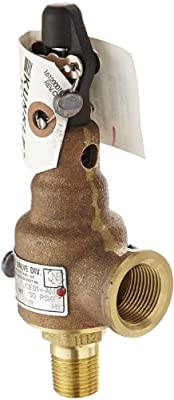 """Kunkle 6010DCE01-AM0050 Bronze ASME Safety Relief Valve for Steam, EPR Soft Seat, 50 Preset Pressure, 1/2"""" NPT Male Inlet x 3/4"""" NPT Female Outlet from Tyco Valves & Controls"""