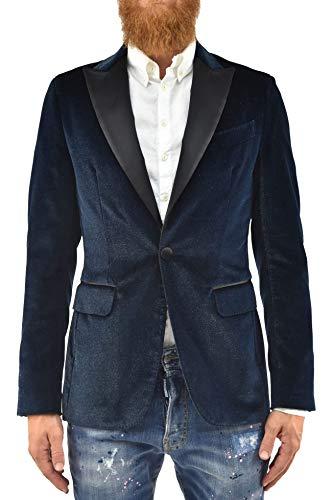 DSQUARED2 Giacca Elegante Uomo Blu Blazer Cotone Un Bottone Brillantini Taglia IT46 (46 IT Uomo)