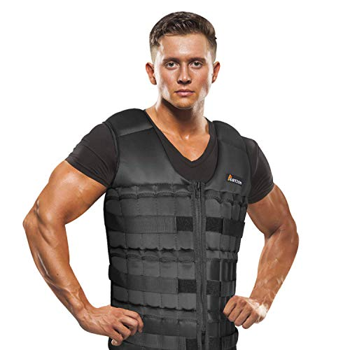 Portzon Adjustable Weighted Vest, 10lbs, 15lbs, 20lbs Comfortable Thin Steel Running Vest, Black (Weight Vests)
