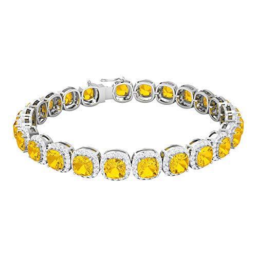 Rosec Jewels 14 quilates oro blanco cojín Round Brilliant Yellow zafiro sintético amarillo Moissanite