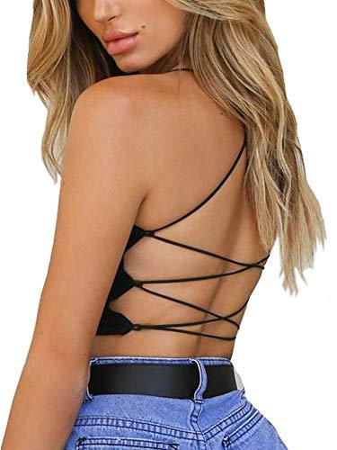 Clubwear for Women Spaghetti Strap Sexy Backless Camisole Crop Tops (M, Black)