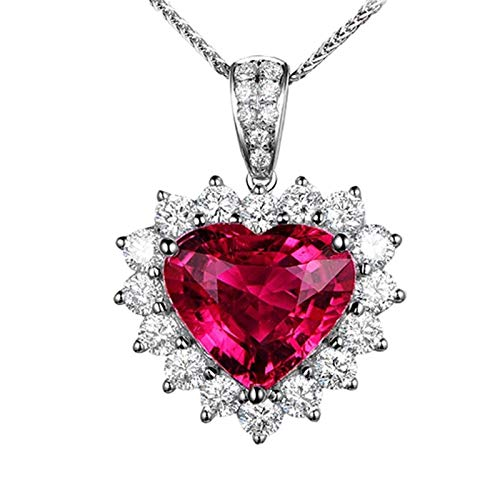 Dreamdge 18K White Gold Necklace Heart Statement Necklaces, 4.45ct Red Tourmaline White Diamond Pendant Necklace