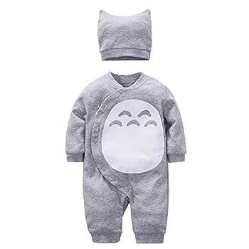 YFYBaby Baby Boy Girl Totoro Romper Cute Cartoon Cosplay Onesies Outfit Set Gray 59 0-3Months