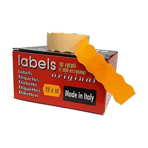 26 x 16 etiquetas fluorescentes naranja para preciado 2 líneas (paquete de 10 rollos) (10.000 etiquetas en total)