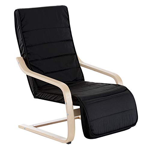HOMCOM Wooden Lounging Chair Deck Relaxing Recliner Lounge Seat w/Adjustable Footrest & Removable Cushion, Black