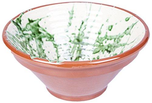 Amazing Tableware Bol rainuré en terre cuite Vert 30,5 x 30,5 x 13,5 cm