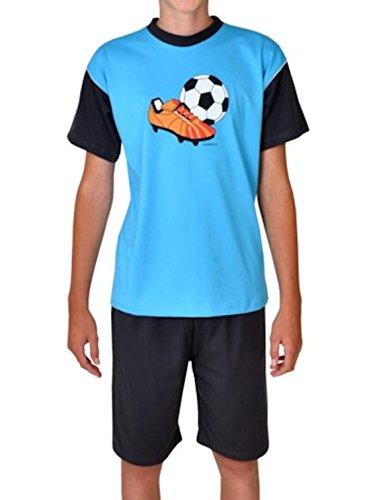Wörner Jungen Schlafanzug lang kurz Shorty Bademantel Fußball türkis Jersey Frottee (128, Shorty 2tlg.)