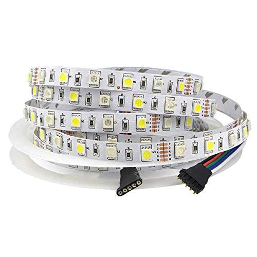Tesfish DC12V RGBW Tira de luces LED RGB + Blanco Color mixto 5M 300LEDs 5050 IP20 No Impermeable tira luz LED