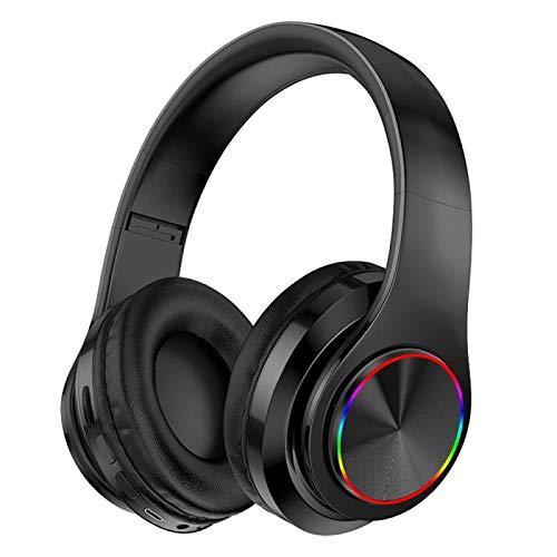 Auriculares estéreo LED de alta fidelidad inalámbricos Bluetooth auriculares de música auriculares FM soporte tarjeta SD con micrófono auricular negro
