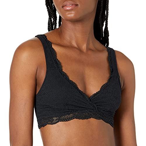 Amazon Brand - Arabella Women's All Over Lace Supportive Bralette, Black, XL