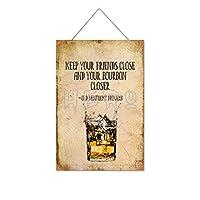 ウイスキーは友達を近づけます木製のリストプラーク木の看板ぶら下げ木製絵画パーソナライズされた広告ヴィンテージウォールサイン装飾ポスターアートサイン