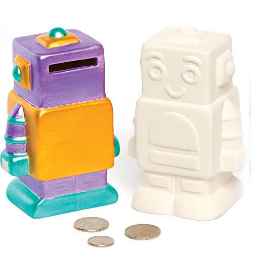 Baker Ross AV124 Roboter-Keramik-Münzenbanken für Kinder zum Malen dekorieren und anzeigen - Kreatives Porzellan-Bastelset für Kinder (Schachtel mit 2)