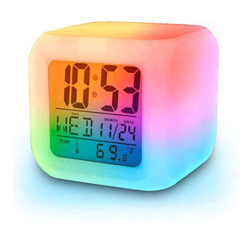 Risingmed® Digital AlarmThermometer LED Ändern LCD Nacht leuchtender Wecker 7 Farben Würfel Uhr für Kinder und Erwachsene im Schlafzimmer