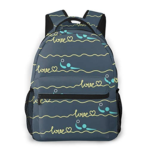 NiYoung High School Outdoors Bicycle Backpack Daypack Durable Polyester Multipurpose Anti-Theft Daypack Large Capacity Shoulder Bag, Love Water Polo Heart Best Mom Gift Prints
