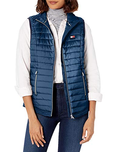 Tommy Hilfiger Quilted Vest with Logo, Irid Navy, Large
