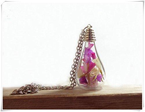 One Life ,one jewerly Joyería para Plantas Vivas, Joyería de Flores Reales, Collar de Lágrima Chapado en Plata, Collar de Flores secas,