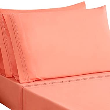 HONEYMOON HOME FASHIONS Microfiber Embroidered Queen Bed Sheet Set, Soft and Luxury, Coral