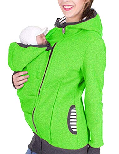 Damen Oberteil Für Schwangere Fashion Tragejacke Mama Elegante Vintage Normallacks Longsleeve Mit Zipper Umstands Still T Shirt Umstands Top (Color : Grün, Size : S)