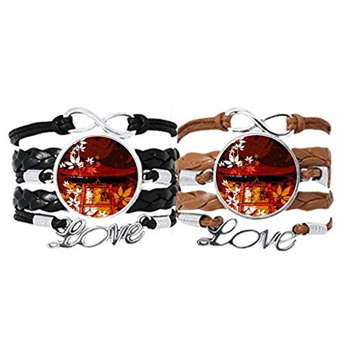 DIYthinker Japanischer Stil Blätter Pavillon-Armband, Handschlaufe, Lederband, Doppelset, Geschenk