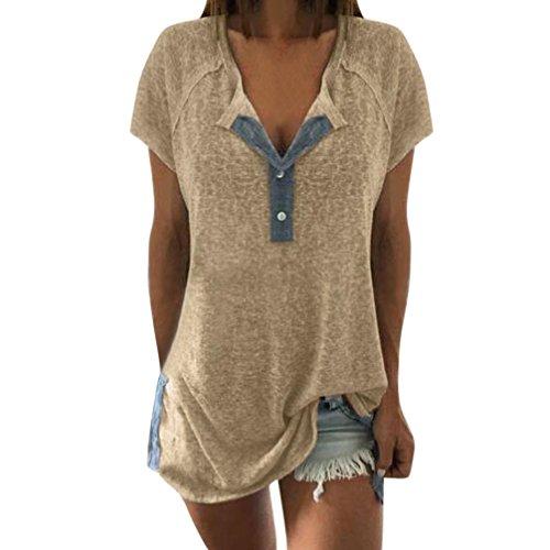 ESAILQ Damen Sportlich T-Shirt V Ausschnitt Kurzarm Top(XXL,Beige)