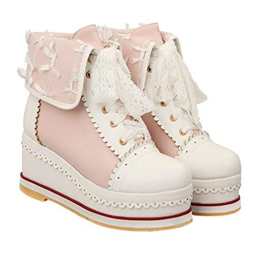 Holibanna Botas de Cuña de Mujer Zapatillas de Deporte Botines Cortos Botines de Tacón Zapato