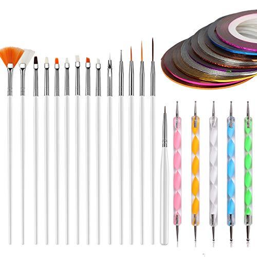 MWOOT Kit de pinceles de uñas para diseño de uñas, juego de accesorios de obras de arte (cintas de rayas de uñas, 15 pinceles de arte, 5 plumas punteadoras) para uñas de ojos maquillaje DIY