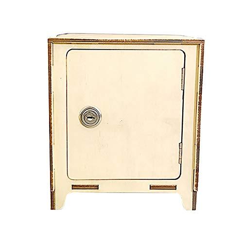 ZAKRLYB Hucha de madera con cerradura, facturas de monedas, ahorre dinero para niñas y niños, hucha impermeable a mano para el gabinete de la televisión de escritorio Decoración de la decoración Artíc