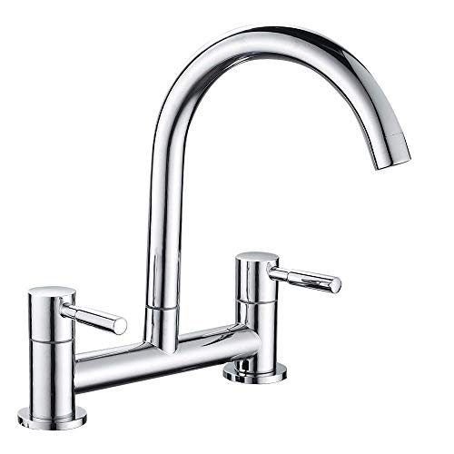 Maynosi Kitchen Sink Mixer Tap,2 Hole Kitchen Mixer Tap,Dual Lever Bridge Faucet ,180mm Centres Deck Mounted,1/4 Turn,360°Swivel Spout,Chrome Plated,Brass,Free Flexible Hoses