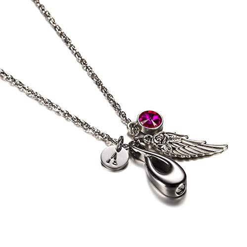 DOLOVE Asche Halskette Herren Anhänger Edelstahl Damen Halskette Unendlichkeit Silber Flügel Zirkonia Kette Halskette Initialen Geburtssteine Oktober A