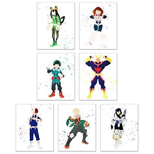 Watercolor My Hero Academia Poster Prints - Set of 7 (8x10) Anime Manga Wall Art Decor - All Might - Deku - Shoto Todoroki - Tenya Iida - Froppy - Uravity - Katsuki Bakugou