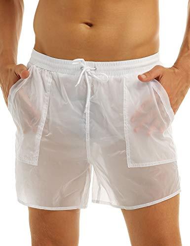 inlzdz Herren Badehose Halb-Transparent Badeshorts Kurze Hose Shorts Schwimmen Shorts Schnell Trocknend Strand Casual Shorts mit Taschen Weiß L