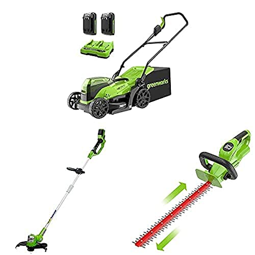 Greenworks 2x24 V 36 cm brushless mower, 24 V trimmer, 24 V cordless hedge trimmer combo kit include 2x2 Ah battery and dual slot charger
