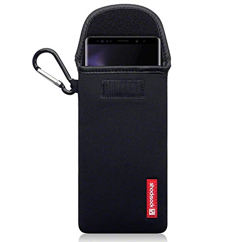 shocksock, Kompatibel mit Samsung Galaxy Note 9 Neopren Tasche mit Carabiner Hülle - Schwarz