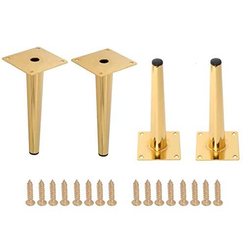 EEUK 4 Stück Möbelfüße Gold, DIY Metallmöbelbeine, austauschbare Möbelfüße, geeignet für Schränke, Sofa, Couchtisch, TV-Kabinett und andere MöbelStraight-100mm/3.9in