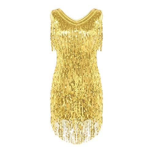 FEESHOW Damen Metallic Pailletten Fransen Tanzkleid Quasten Troddel Kleid für Abend Cocktailparty ärmelloses Tanzkostüm Dancewear Latin Tango Gold_Kleid M