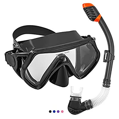 Seals Snorkeling Package Set for Adults, Anti-Fog Tempered Glass Snorke Diving Mask, Anti Leak Snorkel Gear with Silicon Mouth Piece, Purge Valve for Snorkeling, Swimming, Diving (Black)