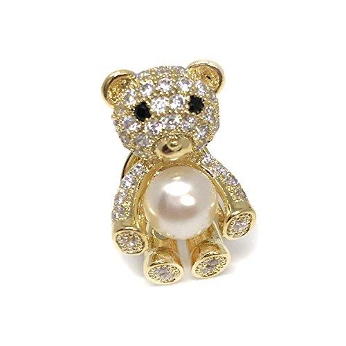Lustrous Jewellery Teddy Bear Pearl Brooch