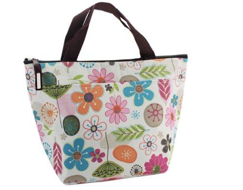 Bonamart Kühltasche Klein Einkaufstasche Faltbar Lunchtasche Thermotasche Isoliertasche Mini Lunch Bag Kühlbox Blumen