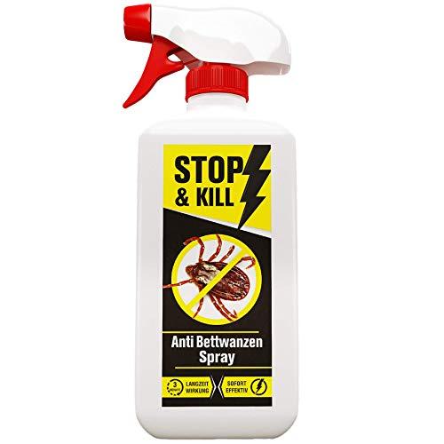 STOP & KILL spray per cimici dei letti, 500 ml, contro le cimici dei letti, per materassi, letti e mobili imbottiti con effetto a lungo termine, alternativo alle trappole per cimici dei letti, inodore