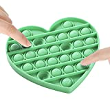 Push Bubble Sensory Fidget Toy, Silicone Anxiety Stress Reliever Toys,Squeeze Sensory Toy,Autism Special Needs Stress Reliever Silicone Stress Reliever Toy for Kids Adults BPA Free (Green Heart)