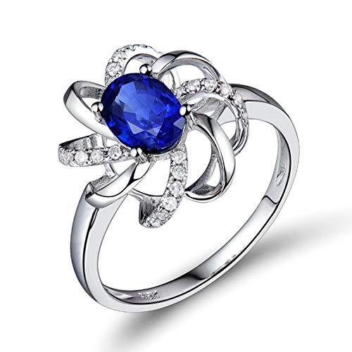 Daesar Anillo de Oro Blanco Mujer 18 K,Flor con Oval Zafiro Azul 1ct Diamante 0.12ct,Plata Azul Talla 22