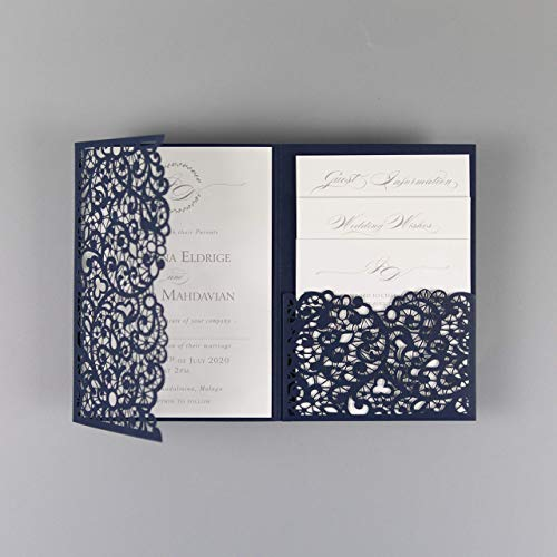 PRE-PRINTED SAMPLE of DIY Laser Cut Navy Blue Wedding Invitations with Envelopes Elegant Pocket with 4 Inserts, Main, Day, RSVP, Evening!
