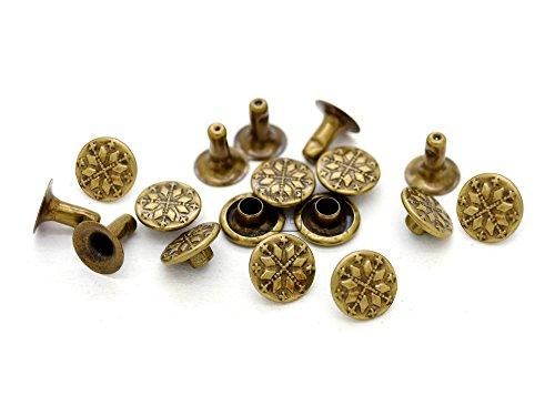 """CRAFTMEmore 6 Designs 3/8"""" Antique Brass Round Rapid Rivet Vintage Studs for Bags Belts Bracelets Leathercraft Decoration (100 Pieces, Snowflake)"""