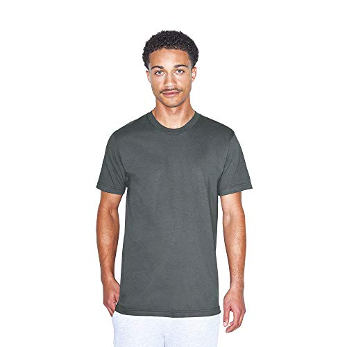 American Apparel mens American Apparel Unisex-adult Fine Jersey Crewneck Short Sleeve T-shirt, 2-pack T Shirt, Asphalt, XX-Large US
