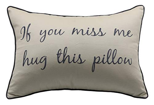 YugTex If You Miss Me Hug This Pillow Embroidered Lumbar Accent Throw...