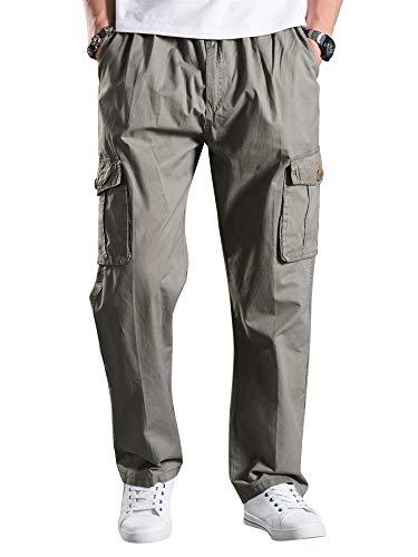 Mesinsefr Men's Elastic Waist Lightweight Workwear Pull On Casual Cargo Pants Light Grey Lable 5XL-US 42